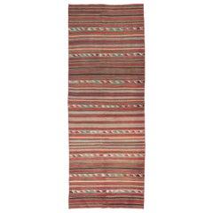 4.3x11.4 Ft Colorful Vintage Nomadic Kilim Rug with Striped Design, 100% Wool