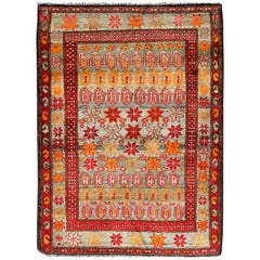 Colorful Vintage Persian Hamedan Rug with All-Over Motif Design