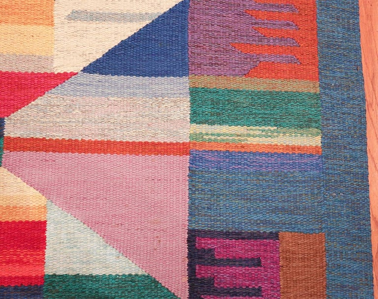 Hand-Woven Colorful Vintage Scandinavian Kilim Rug by Agda Osterberg. Size: 5' 5