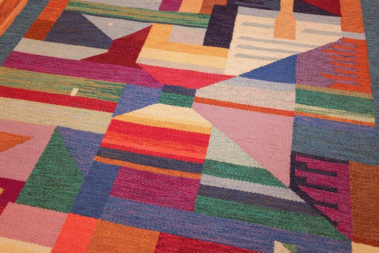20th Century Colorful Vintage Scandinavian Kilim Rug by Agda Osterberg. Size: 5' 5