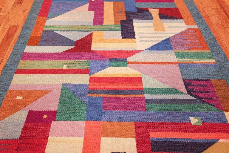 Wool Colorful Vintage Scandinavian Kilim Rug by Agda Osterberg. Size: 5' 5