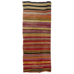 4.7x11.2 Ft Colorful Vintage Striped Handwoven Turkish Kilim 'Flat-Weave'