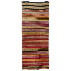 4.7x11.2 Ft Colorful Vintage Striped Handwoven Turkish Kilim 'Flat-Weave'