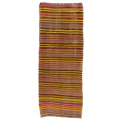 4.7x12.2 Ft Colorful Vintage Striped Handwoven Turkish Kilim 'Flat-Weave'