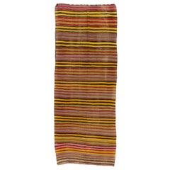 4.7x12.2 Ft Colorful Vintage Striped Handwoven Turkish Kilim 'Flat-Weave'