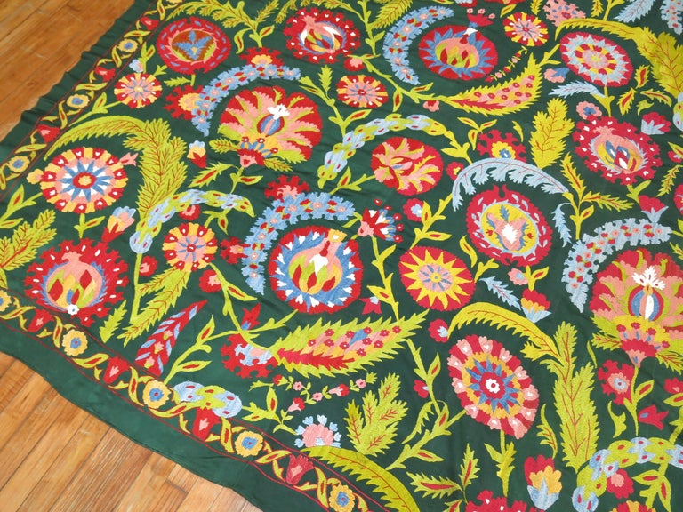 Uzbek Colorful Vintage Suzanni Embroidery For Sale