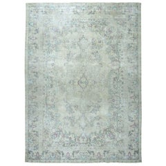 Colorful Vintage Tabriz Worn Wool Hand-Knotted Oriental Rug