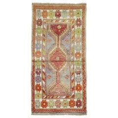 Colorful Vintage Turkish Anatolian Throw Rug