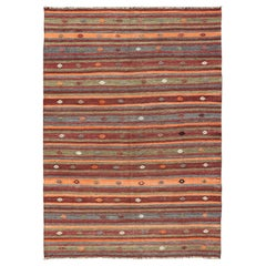 Colorful Vintage Turkish Flat-Weave Kilim Rug with Striped Geometric Design