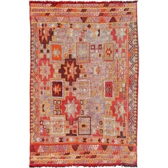 Colorful Vintage Turkish Flat-Weave Tribal Modern Kilim with Embroideries
