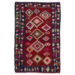 Colorful Vintage Turkish Kilim, Flat-Weave Wool Rug