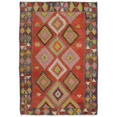 Colorful Vintage Turkish Kilim with Geometric Pattern, Flat-Weave Wool Rug
