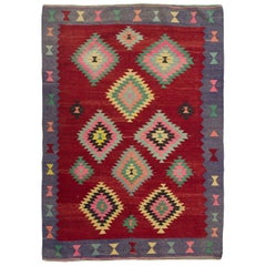 5.6 x 7.8 Ft - Colorful Vintage Western Anatolian Kilim, Flat-Weave Wool Rug