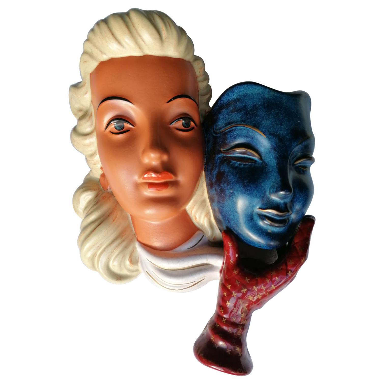Colorful Wall Decorative Ceramic Mask Midcentury