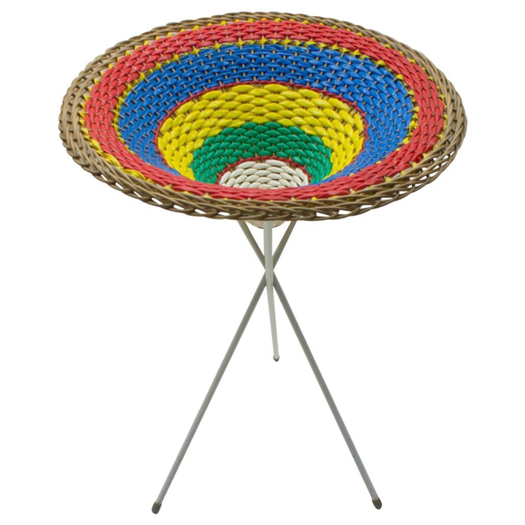 Colorful Wickerwork Midcentury Tripod Presentation Basket, 1950s