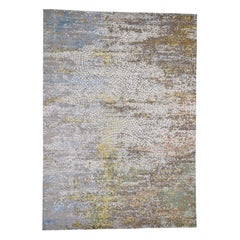 Colorful Wool & Pure Silk Broken Roman Mosaic Design Hand Knotted Rug