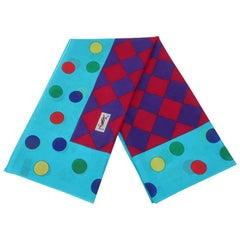 Colorful Yves Saint Laurent Large Polka Dot Cotton Scarf