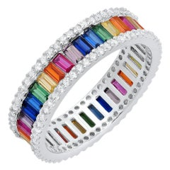 Colorful Zirconia One Row Silver Ring