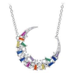 Colorful Zirconia Silver Necklace