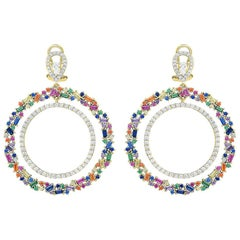 Colorful Zirconia Silver Plated Circle Dangle Earrings