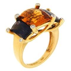 Colori Citrine Iolite Diamond Gold Three-Stone Ring