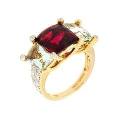 Colori Rubelite Green Beryl Diamond Gold Three-Stone Ring
