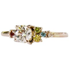 Colorless Diamond and Multi-Color Fancy Color Diamonds 14 Karat White Gold Ring
