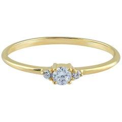 Colorless Moissanite Ring, Anniversary Promise Ring, Round Cut Moissanite Weddin
