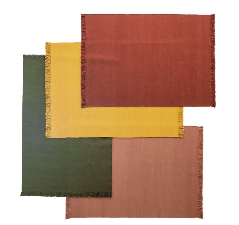 Indian NEW - Colors Blush Dhurrie Standard Natural Wool Rug by Nani Marquina For Sale