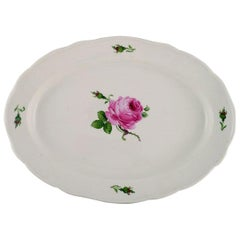 Colossal Antique Meissen Serving Dish in Hand Painted Porcelain with Pink Roses