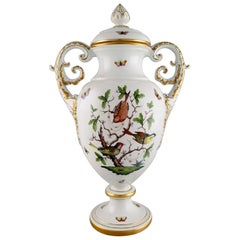 Colossal Herend Ornamental Vase with Handles in Hand Painted Porcelain
