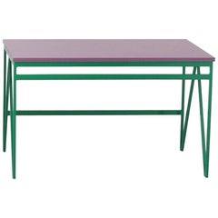 Colour Play Steel and Wood Bench - Medium Size in Green and Purple
