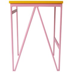 Colour Play Steel and Wood Stool  - Bedside Table