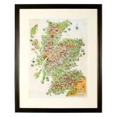 Coloured Pictorial Map of Scotland, 20th Century
