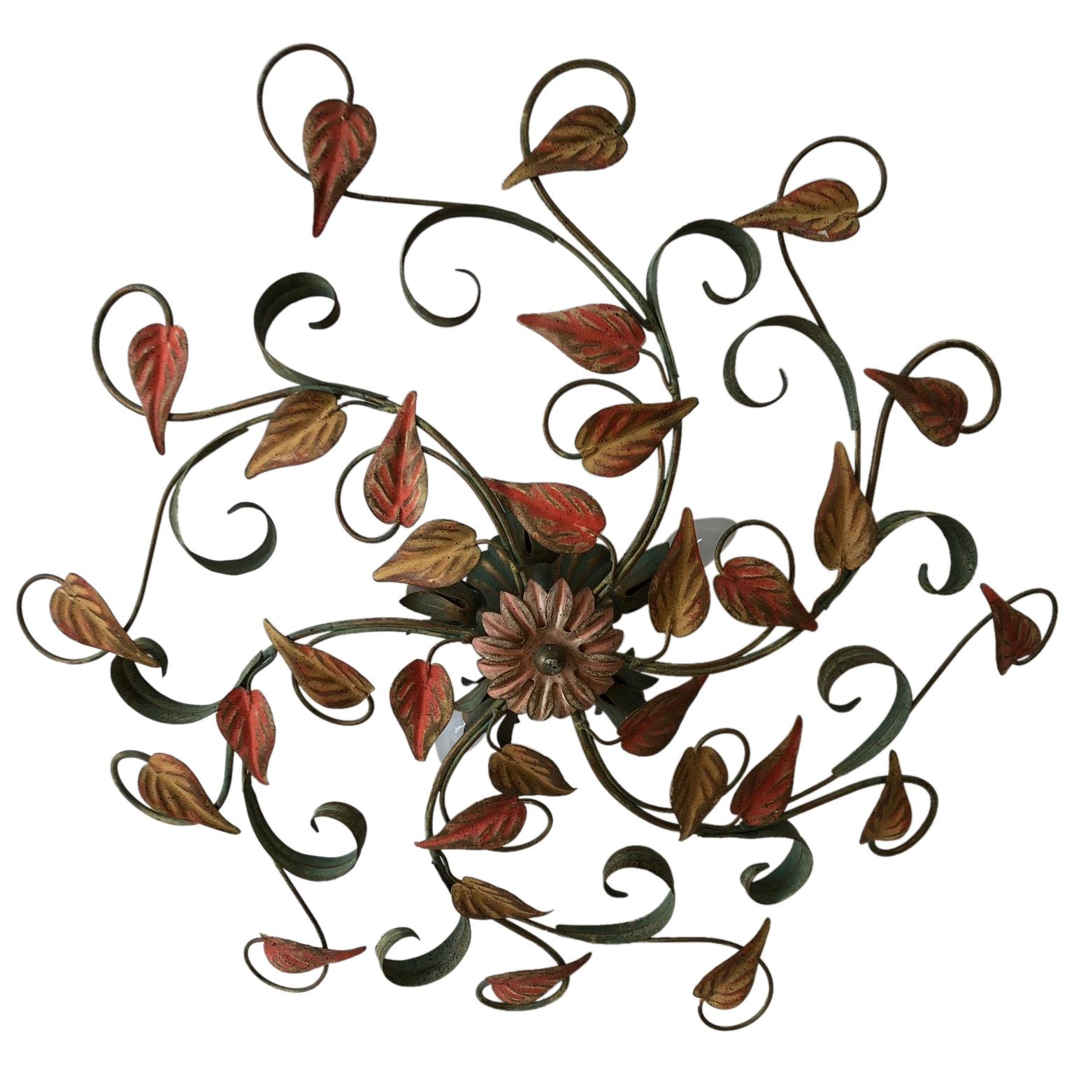 Coloured Vintage 1950s Metal Floral Flush Mount Ceiling Light or Sconce