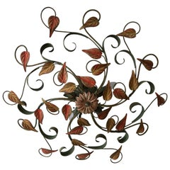 Coloured Vintage 1950s Metal Floral Flush Mount Ceiling Light or Sconce