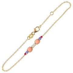 Colourful 18 Karat Gold Bracelet with Corals, Diamond, Tanzanites and Rubies