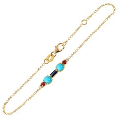 Colourful 18 Karat Gold Bracelet with Sapphire, Turquoises, Spinels and Diamonds