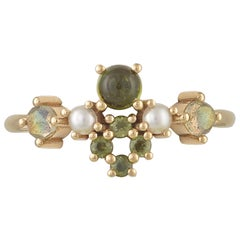 Colourful 18 Karat Gold Ring with Tourmalines, Labradorites and Cultured Pearls