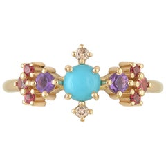 Colourful 18 Karat Gold Ring with Turquoise, Amethysts and Diamonds