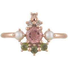Colourful 18 Karat Rose Gold Ring with Tourmalines, Diamonds and Cultured Pearls