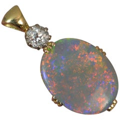 Colourful Black Opal Old Cut Diamond 18 Carat Gold Pendant