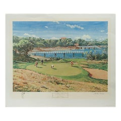 Colourful Golf Print 'Woods Hole, Cape Cod' by Arthur Weaver, Published 1968