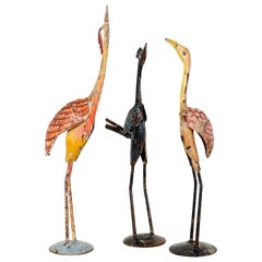 Colourful Hand Painted Metal Bird Statues, 20th Century