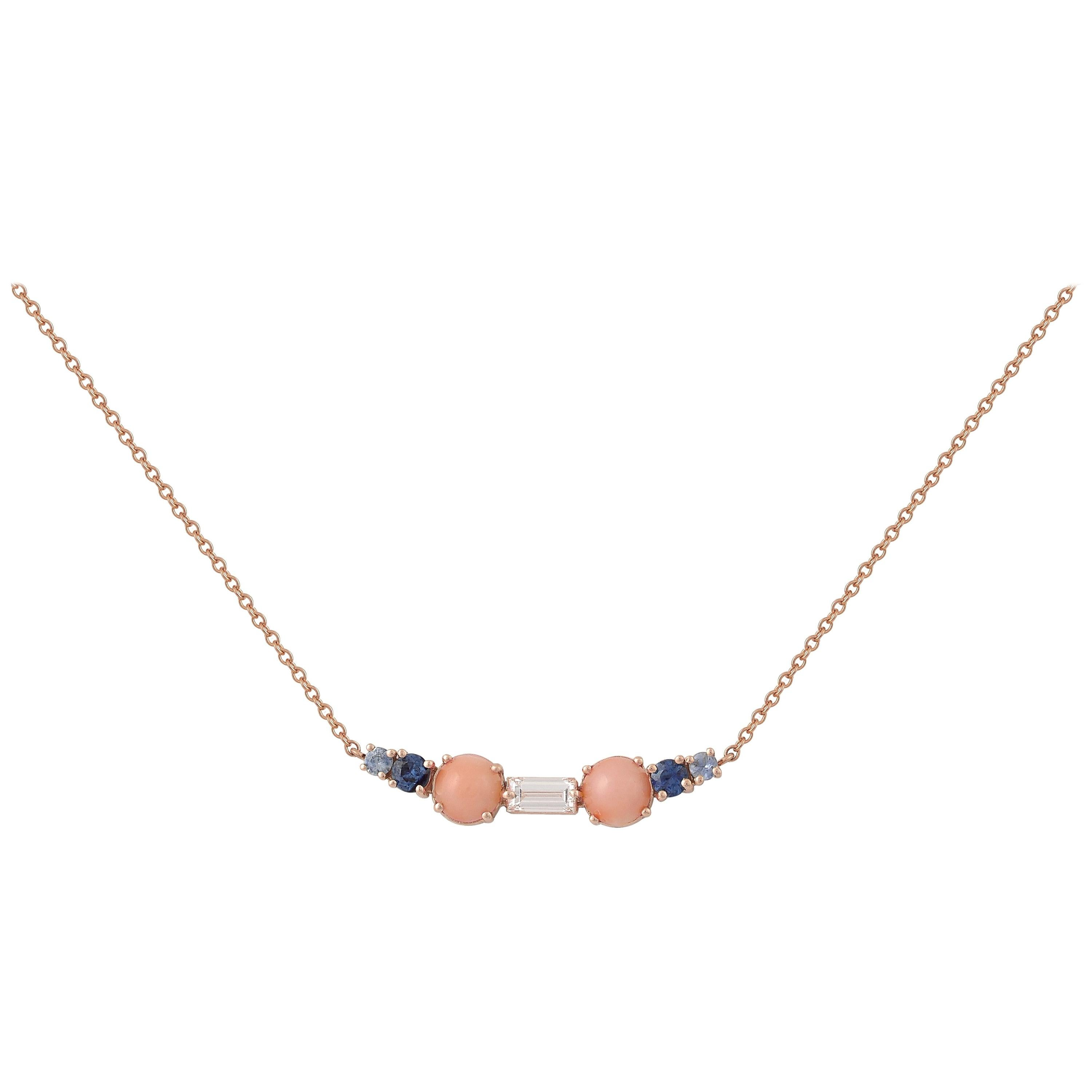 Colorful Multi-Stone 18 Karat Gold Necklace with a Diamond, Sapphires and Corals