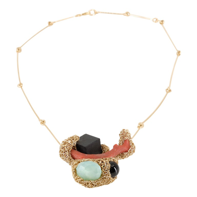 Colourful Multi-Stone Coral Statement Necklace 14 Carat Yellow Sheila Westera For Sale