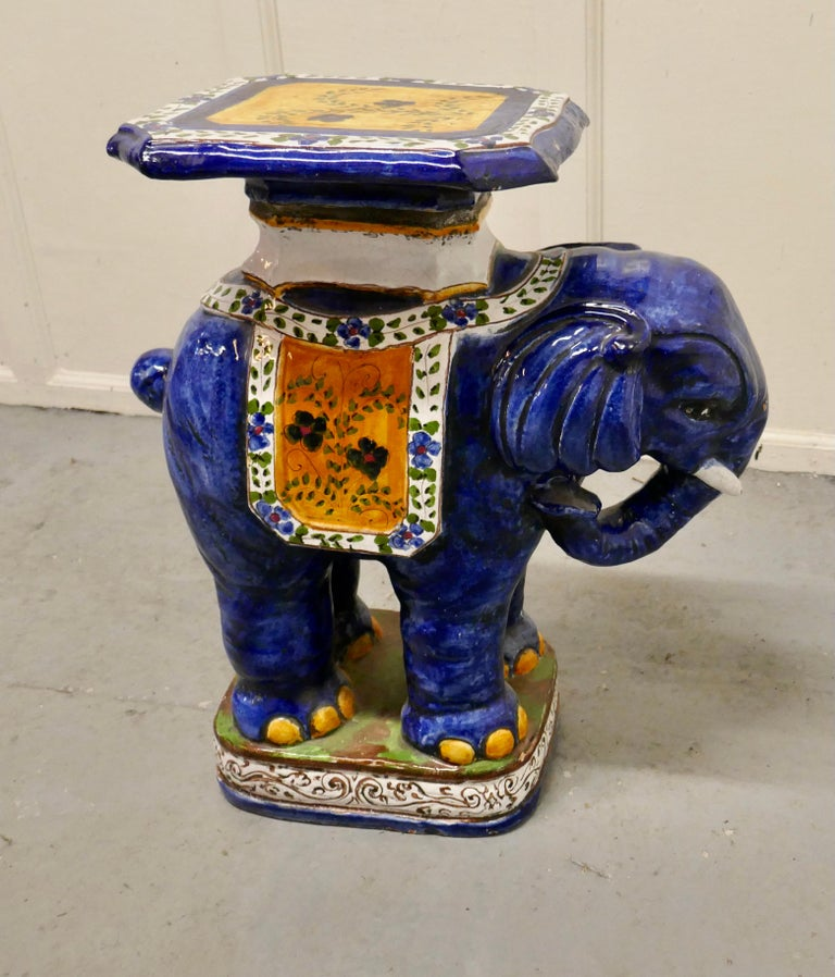 Colourful North African Terra Cotta Elephant Statue Seat For Sale 5