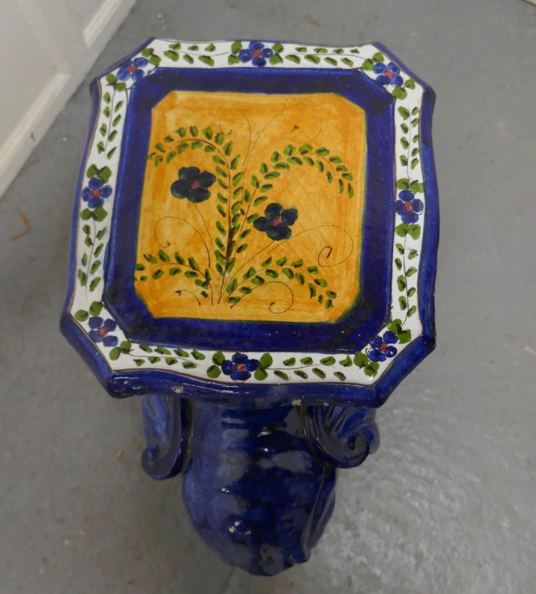19th Century Colourful North African Terra Cotta Elephant Statue Seat For Sale