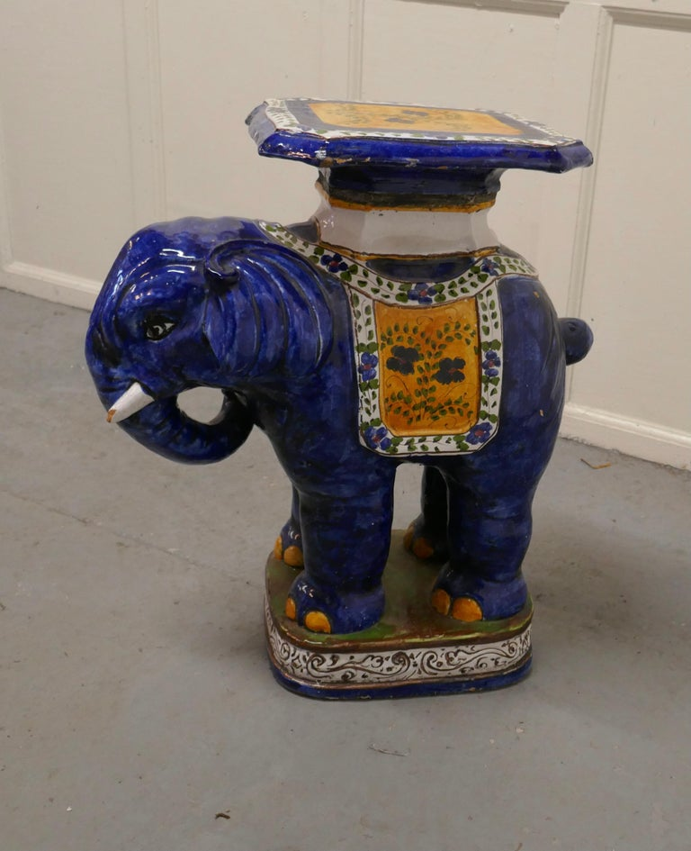 Colourful North African Terra Cotta Elephant Statue Seat For Sale 3