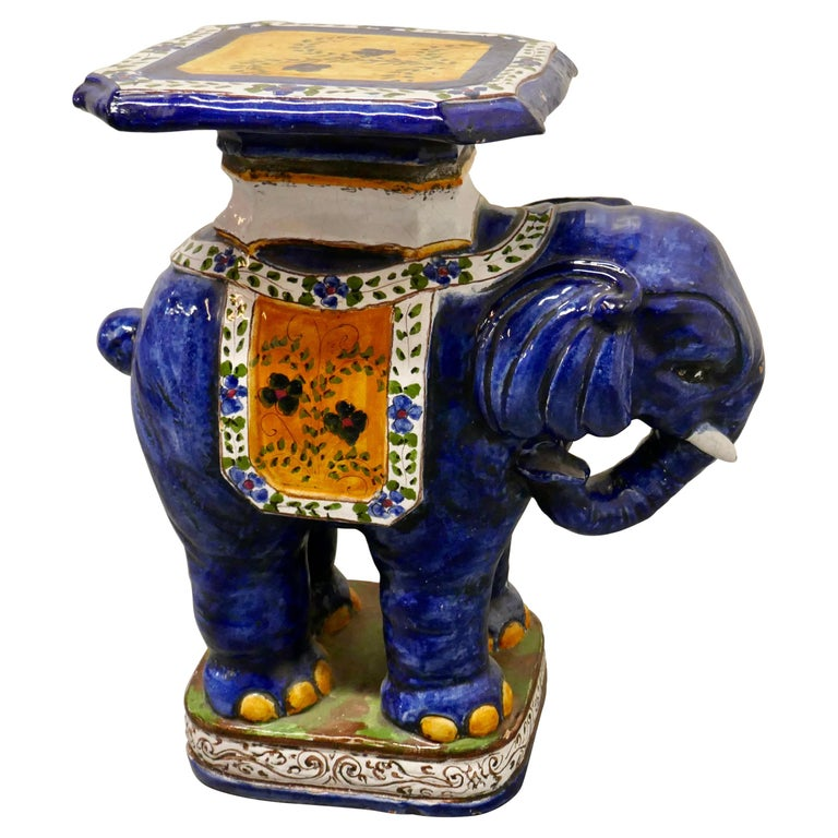 Colourful North African Terra Cotta Elephant Statue Seat For Sale